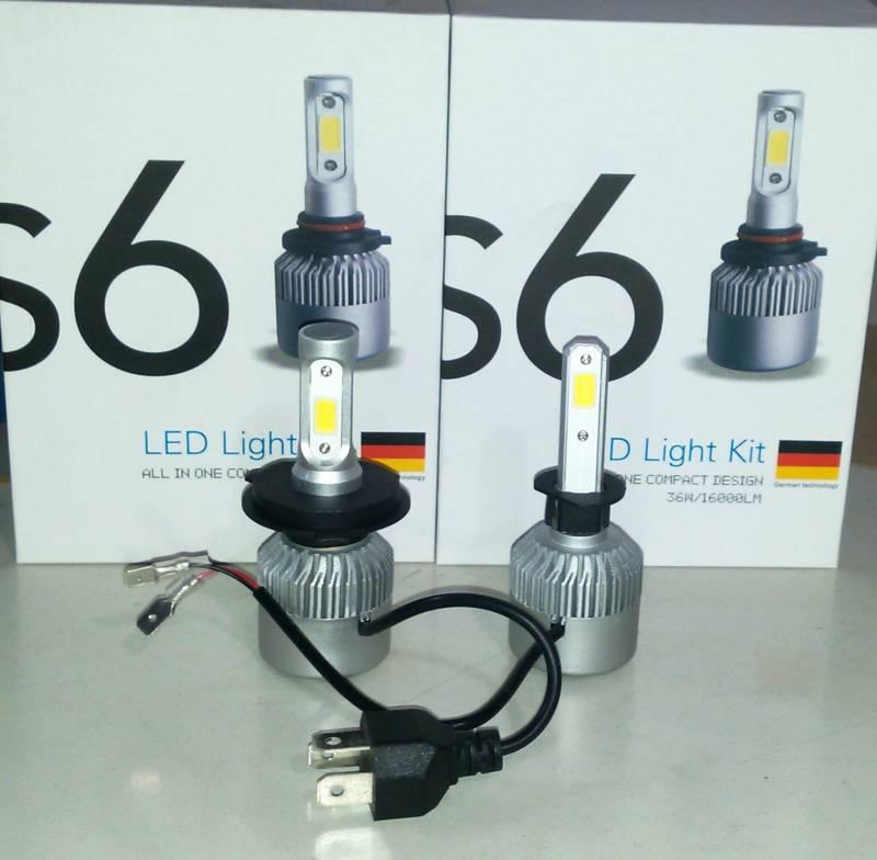 CREE LED S6 H4-H1-H3-H7-H8-H9-H10-H11-H13-H16-9004/5/6 12-24V COOLER 16000LM