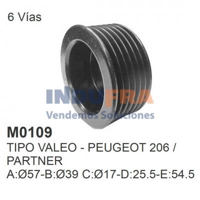 POLEA ALT VALEO PEUGEOT 206 PARTNER 6 VIAS