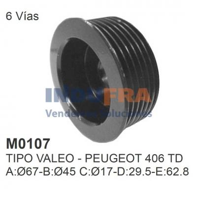 POLEA ALT VALEO PEUGEOT 406 TD 6 VIAS