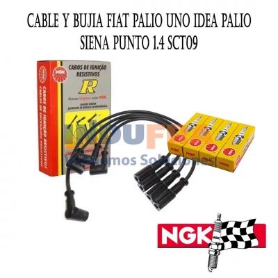 KIT CABLES Y BUJIAS NGK FIAT PALIO UNO IDEA PALIO SCT09