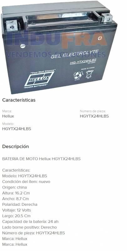 Batería de Moto Gel tipo Yuasa YTX24HL BS 12V